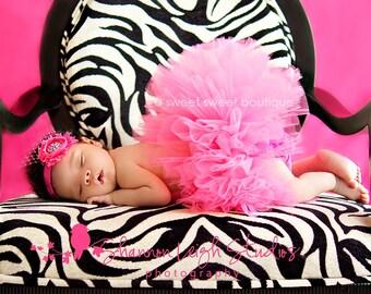 Sweet Elegance Tutu Newborn Tutu Custom Made With Matching Vintage Style Flower Headband Featured In Model Life Magazine