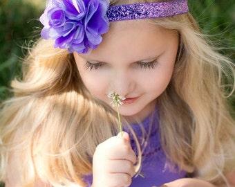 Purple Headband Purple Satin Mesh Flower On Glitter Elastic Headband