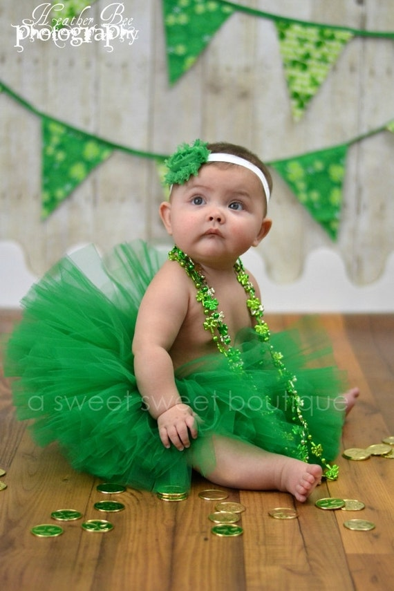 Belle Of Ireland Tutu St. Patrick's Day Tutu Baby-Girls 4T Boutique Style Custom Made With Matching Flower Headband Newborn Photo Prop