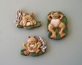 magnet, refrigerator magnet, ceramic magnets, frogs magnet, set of 3 magnets