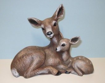 Deer and fawn, ceramic deer and fawn, figurine