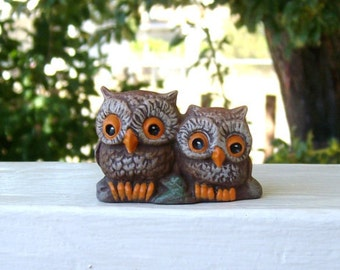 Owls, ceramic owls, miniature ceramic  owls
