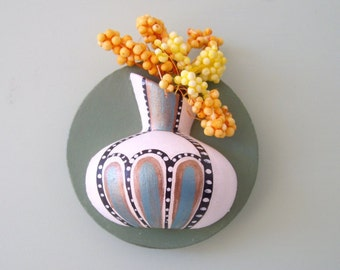 Magnet, ceramic refrigerator magnet - ceramic miniature pot with dried flowers magnet