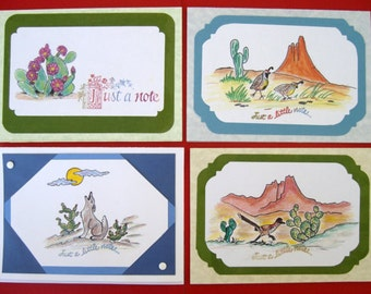 Note card, blank note cards,  set of 4 cards, Southwestern note cards