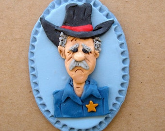 Plaque, polymer clay wall plaque, Southwestern sheriff character