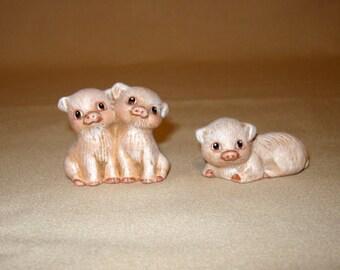 Piglets, ceramic miniature piglets, 2-piece set of 3 piglets