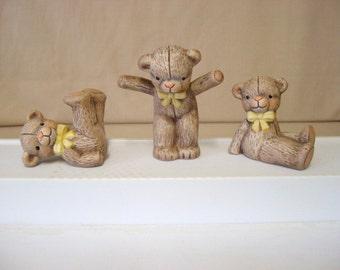 Teddy bears, Ceramic miniature teddy bears, tumbling teddy bears
