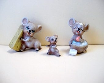 Mice, mice family, ceramic miniature mice, whimsical mice