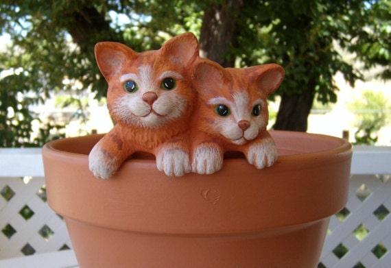 miniature ceramic - pot hanger kittens