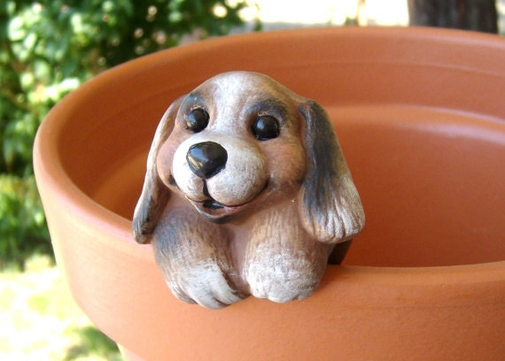 Miniature ceramic - puppy flower pot decoration