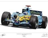 Fernando Alonso Renault R26 Large Ltd Edition F1 Print