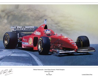 Michael Schumacher Ferrari F310 Limited Edition Signed Art Print