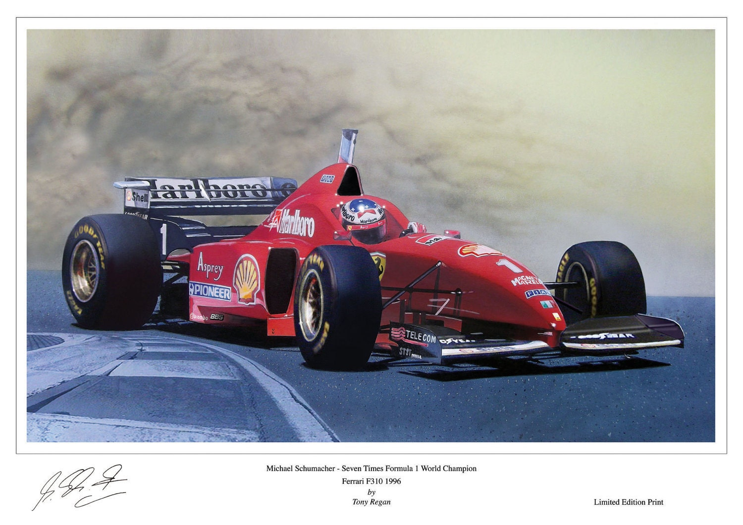 michael schumacher ferrari f310 limited edition signed art. Black Bedroom Furniture Sets. Home Design Ideas