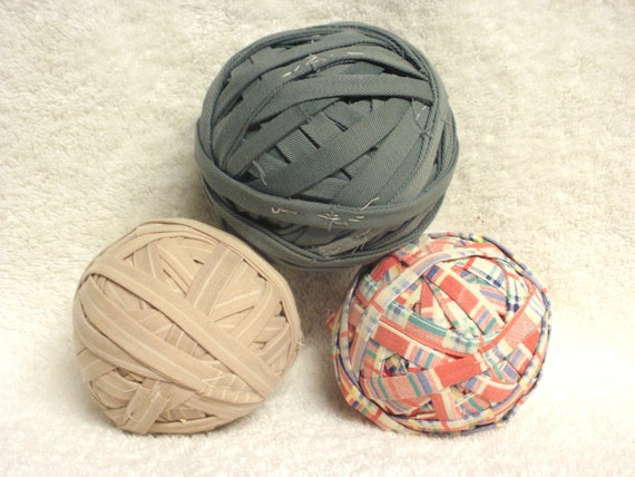 3 Rag Rug Balls - Estate Find - Handmade