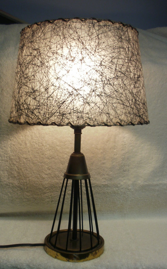 Tripod Metal Table Lamp with Fiberglass shade - Black, Gray & White - 16 1/2 inches tall