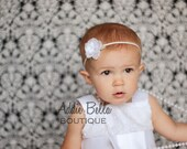 White Baby Girl Headbands Flower Headband Rose Headband Wedding Baptism Fits Newborn Toddler or Adult