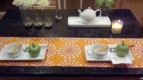 Circular Motion Orange Table Runner