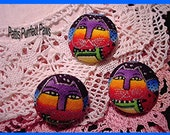 Laurel Burch Fabric Buttons Trio (3) - Heavenly Felines Ready to Ship
