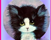 1 1/2 Fabric Cat Button - Cute Big Eyed TUXEDO Kitty