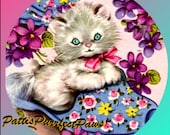 1 1/2 Fabric Cat Button Little KITTEN with MAGIC SLIPPER Ready to Ship