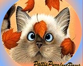 1 1/2 Fabric Cat Button -New LEAF for 2013 New Year Party Kitten Orange Blue January Trends