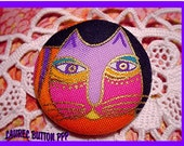 1 1/2 Laurel Burch Fabric Button - Fantastic Felines Faith Ready to Ship