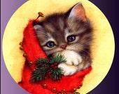 1 1/2 Fabric Cat Button Christmas Stocking Kitten Winter Trends