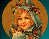 Cat Button Mint Green Girl Little Xmas Holly Berry Kitten Christmas in July CIJ