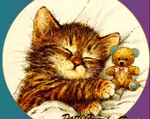 1 1/2 Fabric Cat Button - Kitten HUGS A TEDDY Bear - HUG Today Ready to Ship