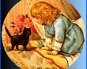 1 1/2 Fabric Cat Button - BEDTIME KITTY- Tell Me a STORY Ready to Ship