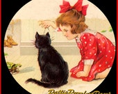 1 1/2 Fabric Cat Button - WHISKERS and Sweet WHISPERS Child with Cute Black Kitten