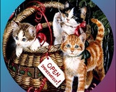 1 1/2 Fabric Cat Button - Wrapped up FUR Winter Christmas Holiday Gifts for Her oxblood