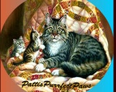 1 1/2 Fabric Cat Button - CATS and QUILTS Love all Comfy and Warm Ready to Ship