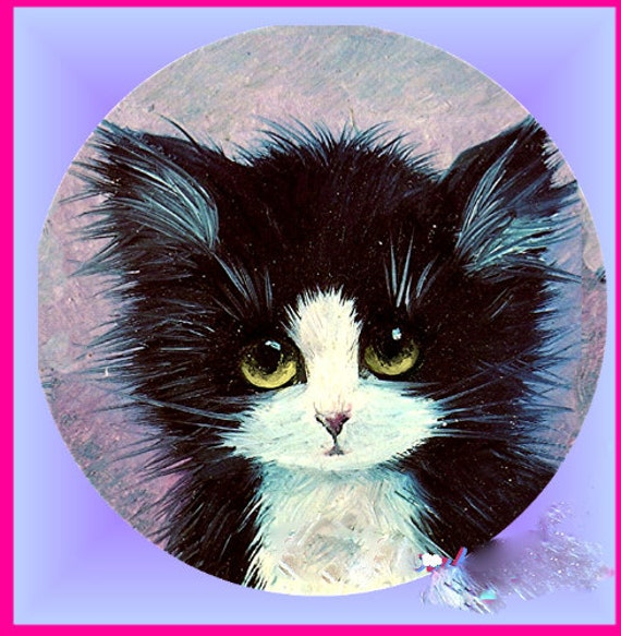 1 1/2 Fabric Cat Button - Cute Big Eyed TUXEDO Kitty