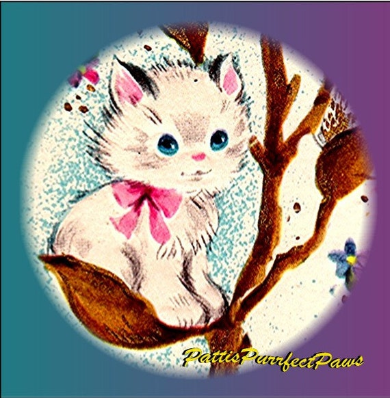1 1/2 Fabric Cat Button - White Kitty Sitting on a Natures PussyWillow Branch