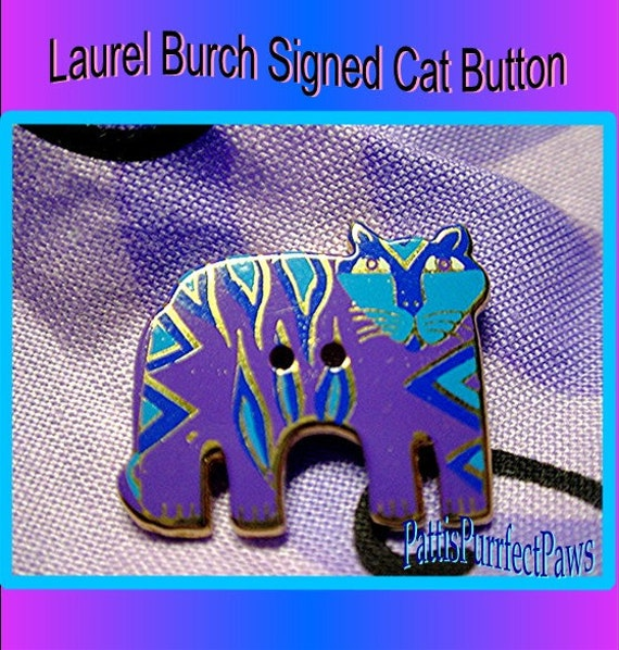 LAUREL BURCH Standing Cat BUTTON - Signed Indigo Purple Enamel Rare Out of Print