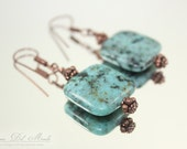 African Turquoise Puff Square Earrings