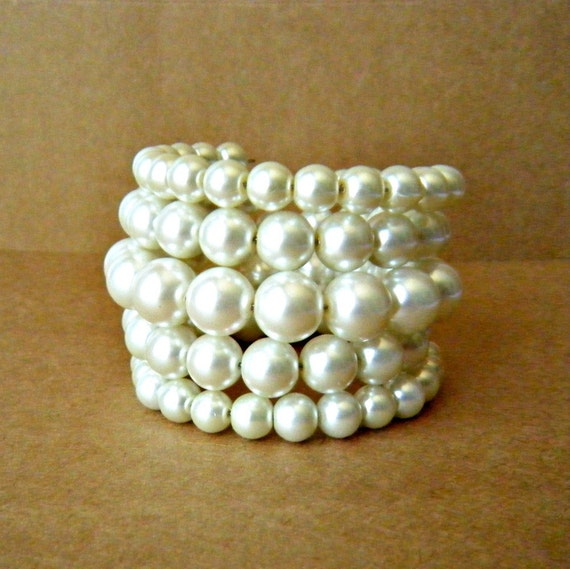 Cream Pearl Wrap Bracelet Bridal Cuff