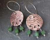 Copper Savanna Spring Earrings - hammered texture