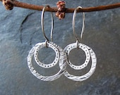 Handmade hammered silver earrings - Silver Splash Earrings