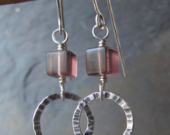 Lavender Fluorite & Silver Earrings - handmade sterling earrings w/ fluorite - hammered silver