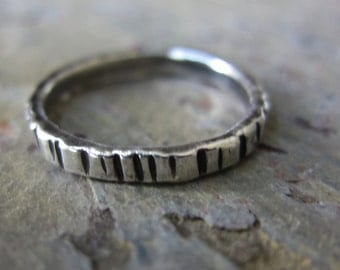 Tree Bark Silver Stacking Ring - fine silver w/ hammered texture