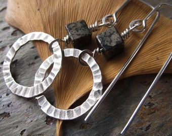 Pyrite & Silver Geometric Earrings - handmade sterling earrings w/ pyrite - hammered silver
