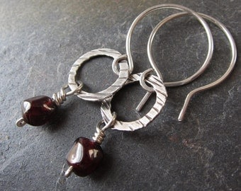 Garnet Drop Earrings - garnet and silver handmade earrings - hammered silver