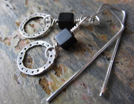 Black Onyx & Silver Geometric Earrings - handmade sterling earrings w/ black onyx - hammered silver