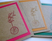 4 Kraft Note Cards, Handmade Card Set, Stamped Greeting Cards in Rainbow Colors