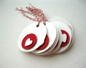 8 Red White Valentine Tags, Modern Valentines Day, Minimalist, Heart Gift Tags