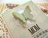 Handmade Mother's Day Card, Stamped Greeting Card, Pastel Seafoam Green, Aqua, Shabby Butterfly