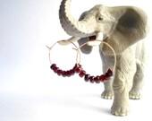 Luscious Garnet Gold Earrings, 14k Gold Filled Hoops, Faceted Red Wine Garnet Gemstones set on Lightly Hammered 3cm Gold Hoops