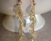 SALE Citrine Faceted Marquise, Gold Fill Dangle Earrings, Autumn Rain, Organic, Fall Fashion, Elegant and Classic